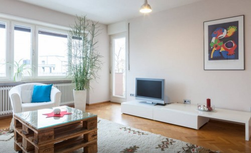 Möblierte Wohnung in Erlangens Innenstadt, Wohnzimmer mit Balkon